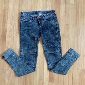 Acid Wash Low Rise Denim Skinny Jeans
